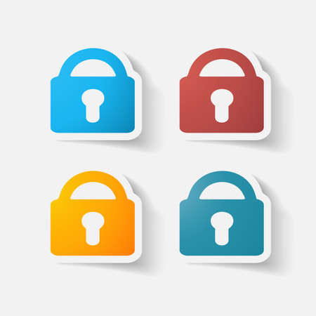 clipped: Paper clipped sticker: lock. Isolated illustration icon