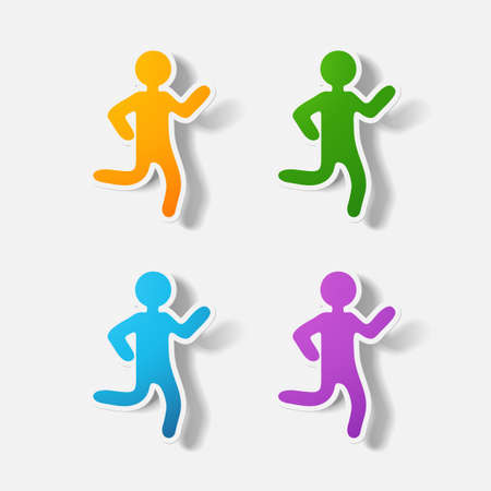 clipped: Paper clipped sticker: running Man. Isolated illustration icon