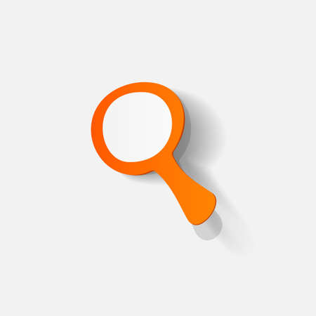 clipped: Paper clipped sticker: search magnifier. Isolated illustration icon Illustration