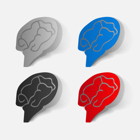clipped: Paper clipped sticker: brain. Isolated illustration icon Illustration