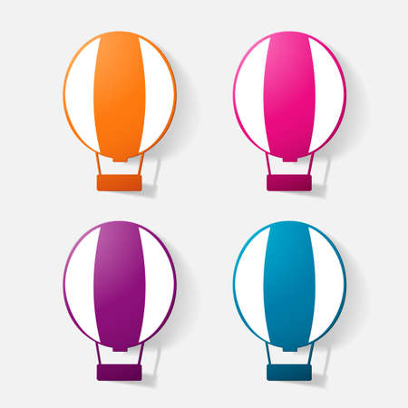 blimp: Paper clipped sticker: aircraft, balloon. Isolated illustration icon