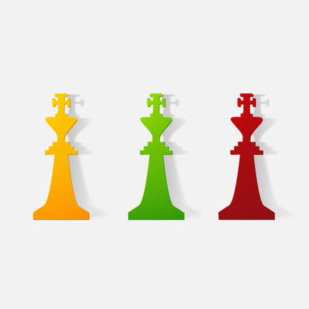 king master: Paper clipped sticker: Chessman King. Isolated illustration icon