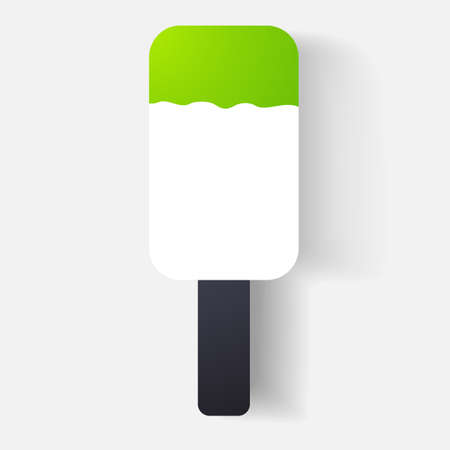 clipped: Paper clipped sticker: ice cream. Isolated illustration icon Illustration