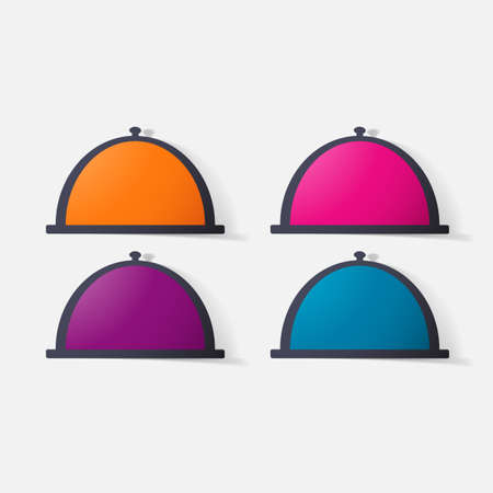 glass dome: Paper clipped sticker: Cloche. Isolated illustration icon Illustration