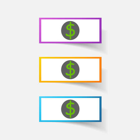 clipped: Paper clipped sticker: money, dollar bill with the image. Isolated illustration icon