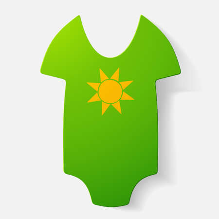 bodysuit: Paper clipped sticker: baby bodysuit. Isolated illustration icon