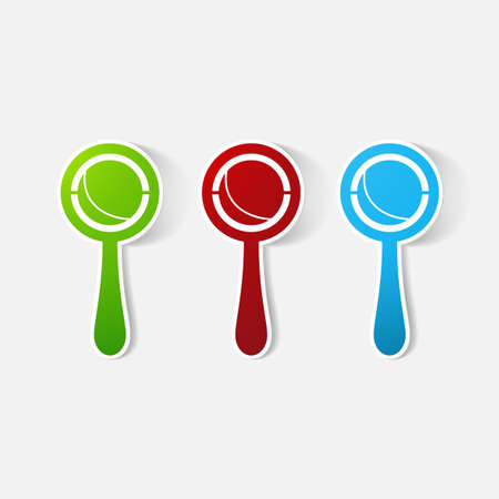 clipped: Paper clipped sticker: rattle. Isolated illustration icon Illustration