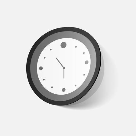 clipped: Paper clipped sticker: wall Clock. Isolated illustration icon