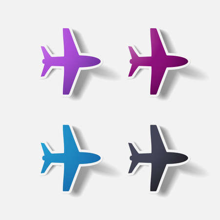 clipped: Paper clipped sticker: plane. Isolated illustration icon