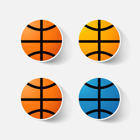 clipped: Paper clipped sticker: basketball. Isolated illustration icon
