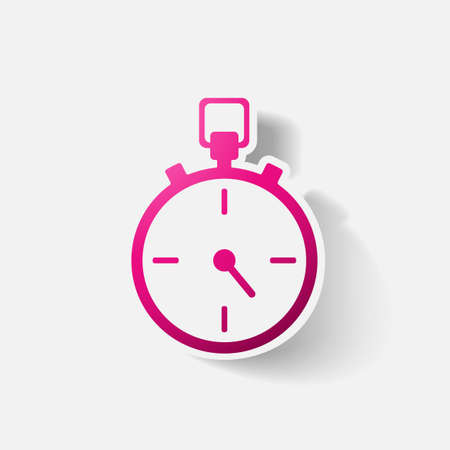 clipped: Paper clipped sticker: stopwatch. Isolated illustration icon Illustration