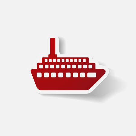 clipped: Paper clipped sticker: motor ship. Isolated illustration icon