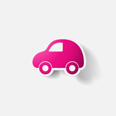 clipped: Paper clipped sticker: car. Isolated illustration icon
