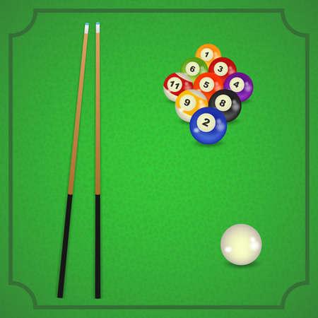 cue: set of billiard balls, billiards, American with cue Illustration