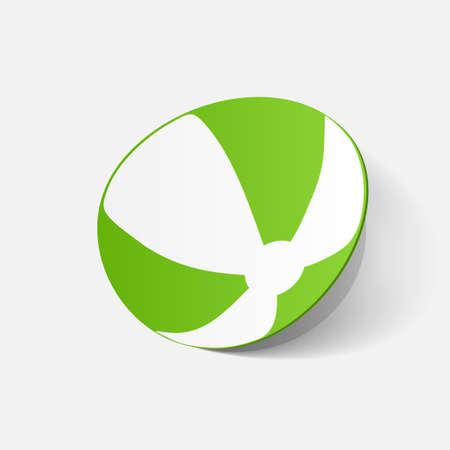 beachball: Paper clipped sticker: beachball. Isolated illustration icon Illustration