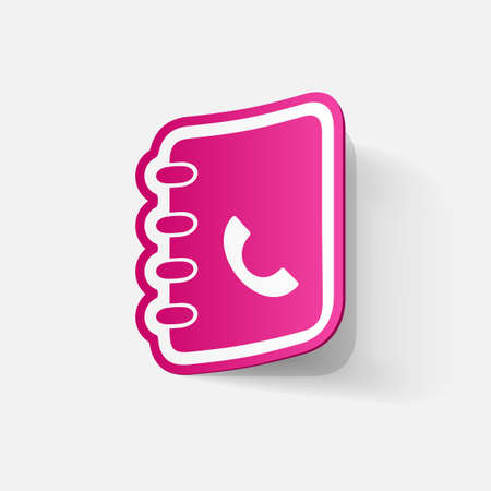directory: Paper clipped sticker: telephone directory. Isolated illustration icon Illustration