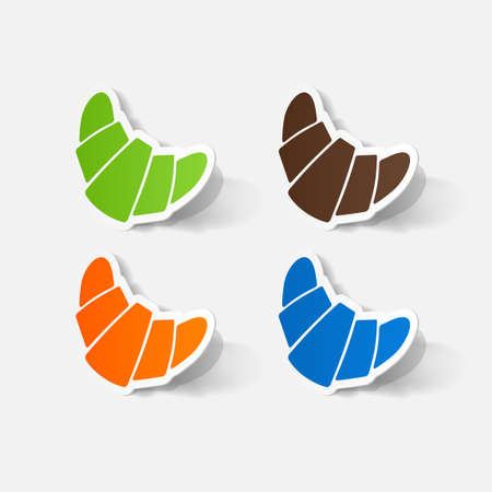 clipped: Paper clipped sticker: croissant. Isolated illustration icon