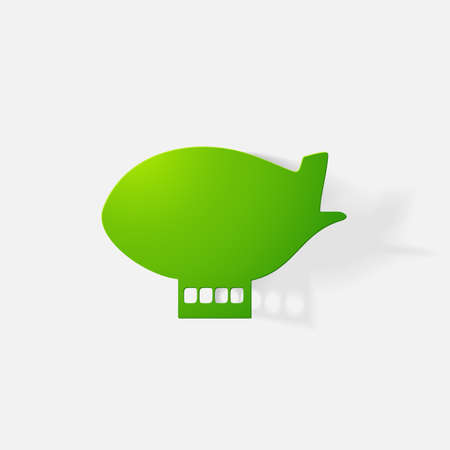clipped: Paper clipped sticker: aircraft airship. Isolated illustration icon