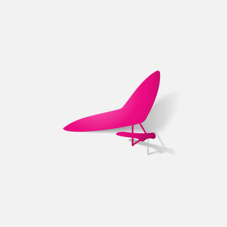 glider: Paper clipped sticker: aircraft, glider. Isolated illustration icon Stock Photo