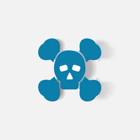 poison symbol: Paper clipped sticker: symbol poison skull and crossbones. Isolated illustration icon Illustration