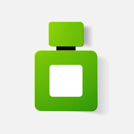 cologne: Paper clipped sticker: bottle of perfume, cologne. Isolated illustration icon