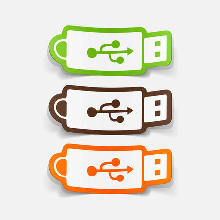 flash drive: paper sticker: Flash Drive. Isolated illustration icon Illustration