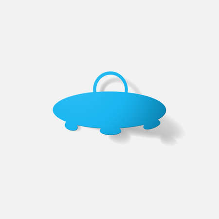 clipped: Paper clipped sticker: aircraft ufo. Isolated illustration icon Illustration