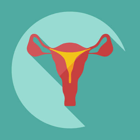 working woman: Flat modern design with shadow icons uterus