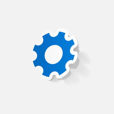 pinion: Paper clipped sticker: Manual pinion. Isolated illustration icon