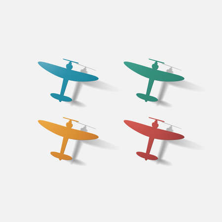 propeller: Paper clipped sticker: aircraft plane with propeller. Isolated illustration icon