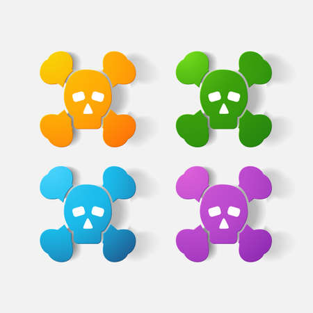 crossbones: Paper clipped sticker: symbol poison skull and crossbones. Isolated illustration icon Illustration