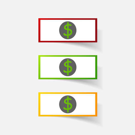 bill board: Paper clipped sticker: money, dollar bill with the image. Isolated illustration icon