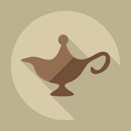genie lamp: Flat modern design with shadow icons genie lamp Illustration