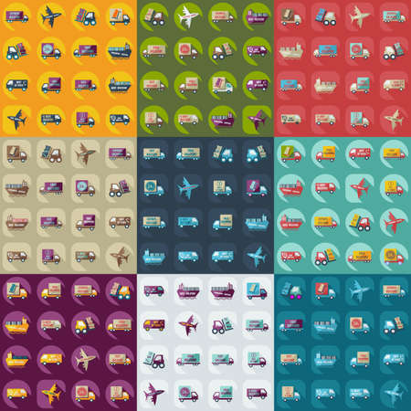 transport icons: assembly icons of transport delivery set collection Illustration
