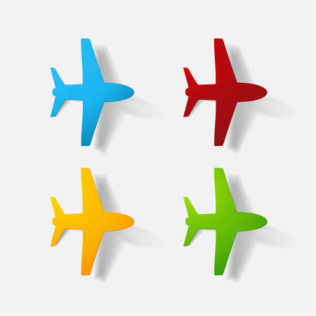 Paper clipped sticker: aircraft airliner. Isolated illustration icon