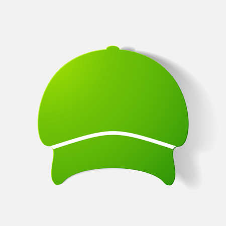 headgear: Paper clipped sticker: headgear, Cap. Isolated illustration icon Illustration