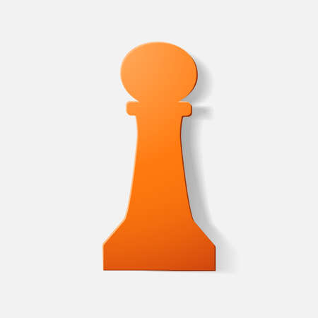 Paper clipped sticker: chess piece, pawn. Isolated illustration icon