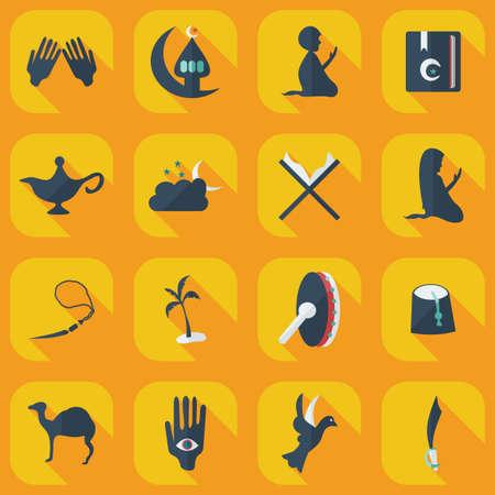 mujeres orando: Concepto plana, set de dise�o moderno con el icono �rabe sombra