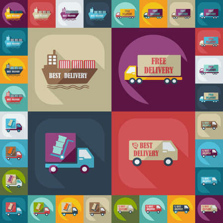 delivery truck: assembly icons of transport delivery set collection Illustration