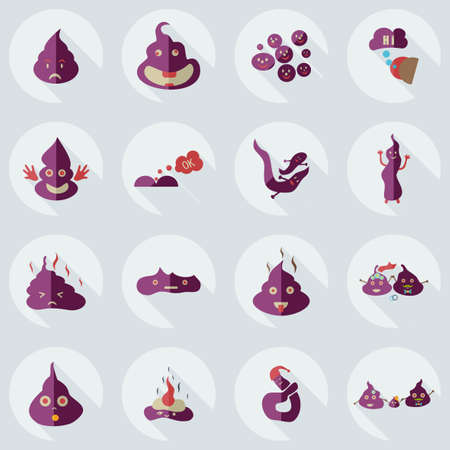 faeces: Flat concept, set modern design with shadow turd, faeces Illustration