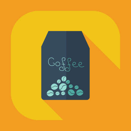 icons business: Flat modern design with shadow icon coffee