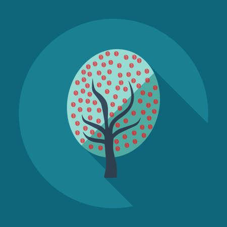coffe tree: Flat modern design with shadow icon coffee tree