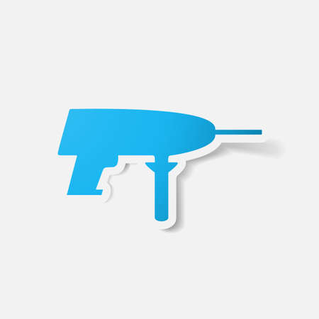 chuck: Paper clipped sticker: drill. Isolated illustration icon