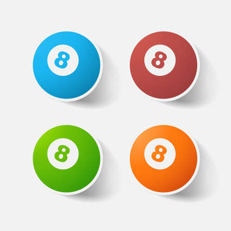 billiard ball: Paper clipped sticker: billiard ball with number. Isolated illustration icon Illustration