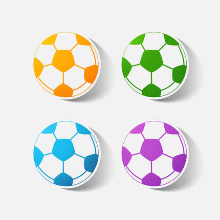 clipped: Paper clipped sticker: soccer-ball. Isolated illustration icon