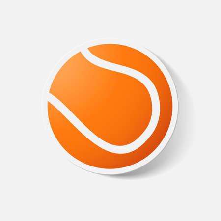 tennisball: Paper clipped sticker: tennis ball. Isolated illustration icon Illustration