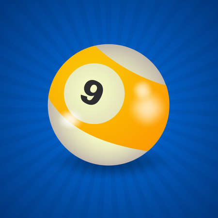 9 ball: set of billiard balls, billiards, American ball number 9 Illustration