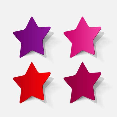 pentagonal: Paper clipped sticker: pentagonal star. Isolated illustration icon Illustration