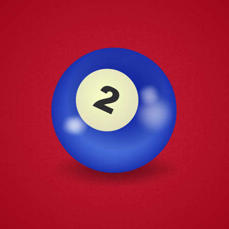 pocket billiards: set of billiard balls, billiards, American ball number 2