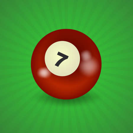 pocket billiards: set of billiard balls, billiards, American ball number 7 Illustration